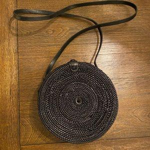 ZARA Black Round Rattan Bag
